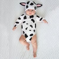 Discount hat romper baby costumes Infant Baby Girls Boys Blotch Print Bodysuit Romper Cartoon Ear Hats Outfits Jumpsuit For Clothes Year's Costume Rompers