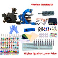 Professional Tatto Kits Top Artist Complete Set Tattoo Machine Gun Lining And Shading Inks Pigment Power Needles Tattooing Supply