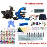 Professional Tattoo Kits Top Artist Complete Set Tattoo Machine Gun Lining And Shading Inks Power Needles Tattoo Supply