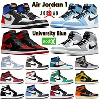 Mens Air Jordan 1 high OG basketball shoes 1s University Blue electro orange dark mocha bred shadow UNC twist men women Sneakers trainers