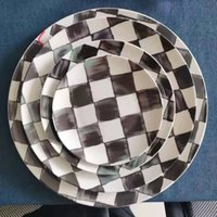 Morocco Style Ceramic Round Plates black and white grid bone china Dinnerware Sets serving plate