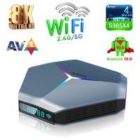 A95X F4 TV Box Android 10.0 Amlogic S905X4 2.4G 5G WiFi 2T2R Quad Core 6 RGB Light A55 8K Media Player