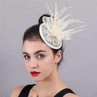 Discount ivory feather fascinator Ivory Sinamay Hat Top Rose Wedding Fascinator Headband Hats Hair Clips Feather Headwear Party Tea Chapeau Caps High Quality Accessories