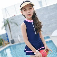 Discount fashionable skirt suits Girl One-piece Sports Swimsuit Skirt Design Front Zipper Fashionable Casual Cute Suits