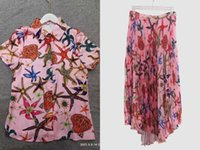 Baroque style starfish Two Piece Dress shirt+half skirt with pleated print