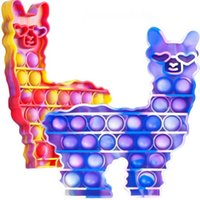llama Alpaca shape push bubble popper Tie dye fidget poo-its finger puzzle Silicone squeezy cartoon animal toys stress relief game kids baby toy G50FH7L