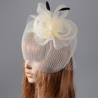 ivory feather fascinator 2021 - Face Veil Bride Headwear Ivory Flower Hair Fascinator Clip Royal Ladies Derby Party Floral Feather Wedding Mesh Headpiece Accessories