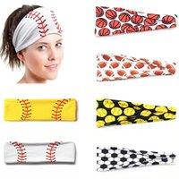 20 styles Baseball Sports Headband Women Men Softball Football Team Hair Bands Sweat Headbands Yoga Fitness Scarf Sport Towel SZ-775997