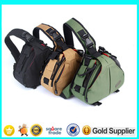 Wholesale Waterproof Digital Slr Camera Case - Professional DSLR SLR Digital Sling Camera Bags Triangle Camera Bags Big Capacity Army Green Colors for Canon Sony Nikon Camera