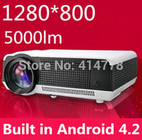 android тюнер hdmi оптовых-Оптово-Лучший 5000Lumens 220W Светодиодная лампа Full HD Проектор Android 4.2 3D ЖК-проекторы Проектор с USB HDMI ТВ-тюнер для домашнего кинотеатра