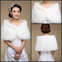 Wholesale Winter Wedding Cape Shawl Jacket - 2015 Winter Bridal Shawl Wraps Warm Long Wide Pearl Faux Fur for Wedding Shrug Cape Sleeveless Evening Party prom Jackets Accessories