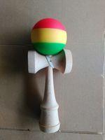 Wholesale jumbo kendama toy resale online - 50pcs High quality cm jumbo Funny Japanese Traditional Wood Game Toy rainbow kendama rubber rasta kendama three colors for adult