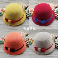 kızlar sonbahar yün şapka toptan satış-Yün papyon bahar sonbahar kış bebek kızın fötr şapkalar kaşmir çocuk moda şapkalar çocuklar sıcak kap