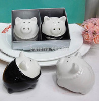 Wholesale Shaker Wedding Favors - Wedding Favors Pig Bride and Groom Ceramic Salt and Pepper Shakers for Wedding Souvenirs and Birthday Party Favors (2PCS SET)