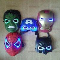 Wholesale Spiderman Birthday - 5pcs lot New The Hulk Captain America Batman Spiderman Ironman LED Glowing Party Mask Birthday Halloween Boy Gift