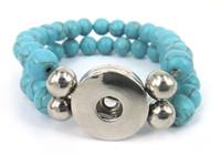 Wholesale Diy Semi Precious Stones - Free shipping New arrival turquoise metal snap Noosa button charm double Bracelet semi precious stone DIY bracelet