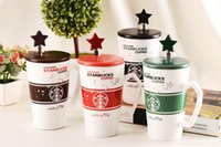 Wholesale Starbucks Ceramic Coffee Cups - Drop ship High Quality Starbucks ceramic coffee cup, 4 colors Starbucks Matt cup with cover and spoon,Mug, free shipping