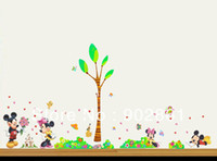 Wholesale Tree Vinyl Wall Sticker Paper - Funlife 300x150cm 120x60in Mickey Minnie Mouse Love Tree Flower Grass Underbrush Butterfly Wall Sticker For Decoration BD1039