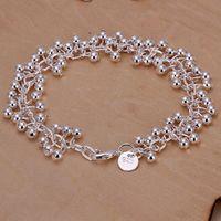 Wholesale Girls Jewlery - Lady girl vogue Jewlery 925 sterling silver plating Charm pendant Grape beads bracelets Shrimp buckle bracelet 10pcs lot H017