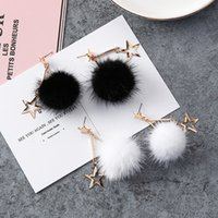2017 Hot stye fashion joker Cute stars Mink hair earring Dolce personalità ornamento temperamento