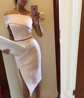 Wholesale Cheap Formal Lady Dresses - Cheap Elegant White Two Pieces Cocktail Party Dresses 2017 Unique One Shoulder Ladies Short Evening Formal Wear Events Gown