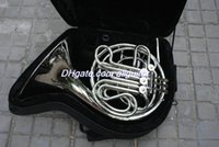 Wholesale French Horn Double - Wholesale 4 key Double French Horn Silver Lacquer F Bb Brass body with case Free Shipping