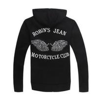 moda ceket kanatları toptan satış-Toptan-Yeni Siyah erkek Robin Jeans Zip Hoodie Tişörtü Ceket Baskılı Kanatları Moda StreetWear CN Boyut M L XL XXL XXXL, ÜCRETSIZ SHIPP
