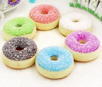 Wholesale Dessert Toys - Simulation Squishy Colorful Shredded Coconut Donuts Pendant Slow Rising Desserts Toys Food Model For Dessert Shop Decoration wen4742