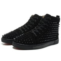 Wholesale womens buckle tops - New Arrival mens womens black matter leather with black spikes high top sneakers,designer men causal sports shoes Drop shipping