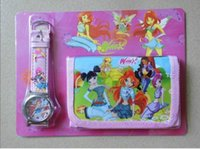 Wholesale Winx Watch Wholesale - New Free shipping 16pcs Winx Club cartoon watch Wrist watch+ purses Wallet ,Combination of gift set of birthday gift