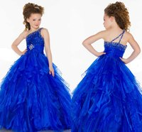 2018 New Royal Blue Haute Couture One spalla Cristalli Ball Gown Tulle Flower Girl Abiti Toddler Glitz Pageant Dress Per Baby HY1285