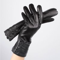 Wholesale Glove Fur Woman - 2015 women genuine leather gloves 100% soft sheepskin touch screen gloves for iphones long wrist warm fur inside winter gloves Black