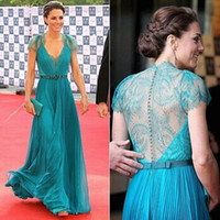 Wholesale London Chiffon Dress - Exquisite!Kate Middleton in London Olympic Celebrity Gown Deep V Neck Cape Sleeve Floor Length Chiffon Evening Prom Dress AB566