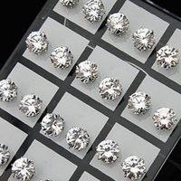 mens için küpe toptan satış-Fashion 24pcs 8mm Clear Austria Cubic Zirconia Stainless Steel Stud Earrings for Womens Mens Wholesale Jewelry Lots A-645