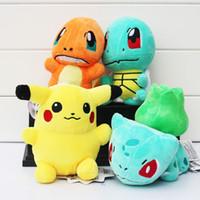 "Wholesale Pokemon Stuffed Set - 4pcs set Poke Pikachu Bulbasaur Squirtle Charmander Plush Toys Stuffed Baby Doll 6""15cm high quality"