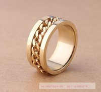 Wholesale Gold Jewelry Chain Roll - Wholesale-Golden Color 2015 Newest 1CM Jewelry Rings For Men Silver 316 Stainless Steel Round 18K Gold Plated Roll Chain wedding Ring