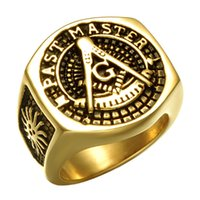 Wholesale hot wedding masonic rings for sale - Group buy Hot Hip Hop Masonic Men s Rings Carved Geometric Hipsters gold Plated stainless steel Rings For Men s Hip Hop Jewelry Top Grade