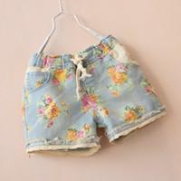 Wholesale Denim Flowers Girls Kids - Size 100-140 baby girl kids vintage rose flower shorts floral shorts short pants Denim shorts lace crochet hollow shorts belt waistband 5