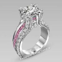 ingrosso set di gioielli in topazio rosa-SZ5-11 lusso all'ingrosso gioielli moda professionale oro bianco 10kt riempito gf topazio rosa anello di fidanzamento di nozze set regalo