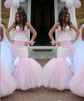 Wholesale Pink Bridesmaid Dresse - 2015 Sweetheart Mermaid Bridesmaid Dresses For Wedding With Tulle Sweep Train Sexy Backless Sheath Long Bridesmaid Gowns Formal Party Dresse
