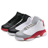Wholesale A3 Red - 2017 Hot Sale Teenage Boys Basketball Shoe Size 31-40 Kids Basketball Boots Lace Up Boys Sneakers Leather Kid Sport Basketball