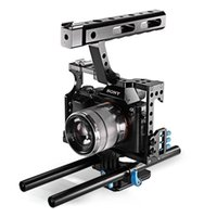 CS-V5 DSLR Rod Rig Camera Vídeo Kit de gaiola de vídeo Handle Grip para Sony A6300 A7 II A7r A7s Olympus Pentax Cameras + Cage
