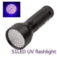 ingrosso luci led uv-Portatile 51LED UV LED viola nero chiaro torcia in alluminio Shell 365-410nm contraffatto rilevato torcia lampada