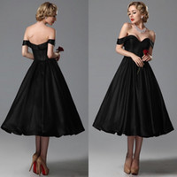 Wholesale Taffeta Tea Length Wedding Dresses - 2015 Vintage Black Wedding Dresses A Line Sweetheart Off Shoulder Tea Length Bridal Gowns Custom Made for Brides Prom Gown