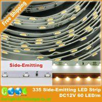 Wholesale 335 White - Wholesale-DC12V Side Emitting LED Strip 335 Side View LED 60LED m White   Warm White   Red   Blue, 5m lot