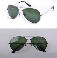 Wholesale Wholesale Lense Glasses - Good quality Men's Women's Sunglasses UV400 Glass Lense Men Women Sun glasses Size 58mm 62mm 19 colors available fashion glasses wholesale