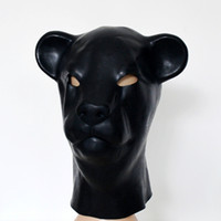 Wholesale Adult Leopard Masks - Hot sex product New male female 100% natural latex bondage leopard head mask eyepatch gagged headgear hood adult BDSM toy bed game set