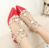 Wholesale Open Toe Rivet Wedge - Hot Selling Women Calfskin Pointed Toe Rivets Flat Shoes,Genuine Leather Flats 39 Colors