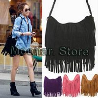 Wholesale Celebrity Pink Bag - Celebrity Fringe Tassel Shoulder Messenger Bag Handbag Vintage Faux Suede XB098#S10