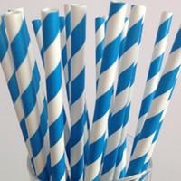 Wholesale Striped Straws Blue Free Shipping - Free Shipping 50pcs Bright Blue Striped Paper Straws Christmas Wedding Decoration